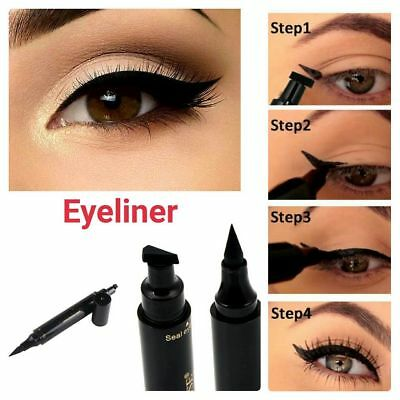 2in1 Black Eyeliner Vamp Pen Eye Liner Stamp Winged Head Makeup Tool Waterproof
