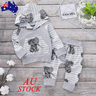 Baby Boys Elephant Printed Outfits Set Newborn Kids Clothes Hoodies Top Pant