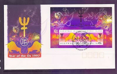 Christmas Island  1997  FDC, Year of the Ox mini sheet.