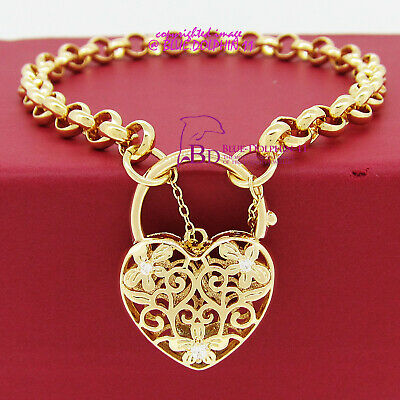 Women Real Solid 18k Yellow Gold GF Belcher Curb Bolt Ring Chain Bracelet Bangle