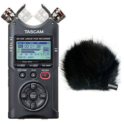Tascam DR-40X Stereo Audio-Recorder + keepdrum Fell-Windschutz