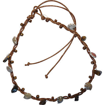 Brown Anklet Ankle Bracelet Foot Chain Womens Girls Shell Stone Beaded Jewellery