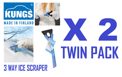 2 x KUNGS Mid-IS Car Ice Scraper - Made In Finland  - Quality Product TWIN PACK