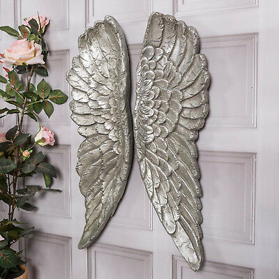 Silver Large Wall Mounted Angel Wings Wall Art Decoration Hanging Home Decor