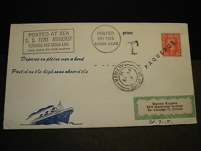 "Ship S/S FORT AMHERST Naval Cover 1951 PAQUEBOT ""T"" Mark St. JOHNS, ANTIGUA"