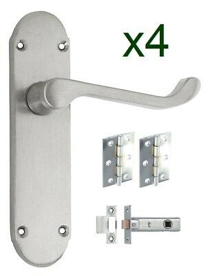 4 Pack Shaped Scroll Satin Chrome Door Handles Hinges and Latches included