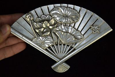 Collectible China Feng Shui Tibet Silver Carved lotus Statue fan shape box