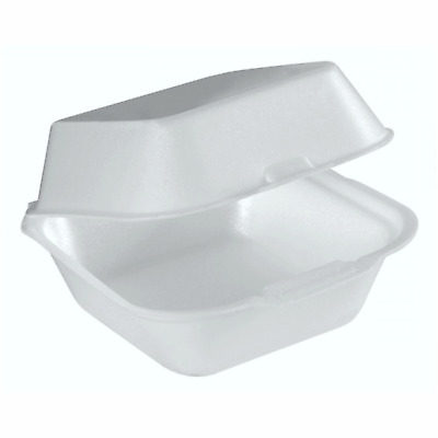 HB6 Food Take Away Large BURGER BOX Foam polystyrene CONTAINERS x 50 White