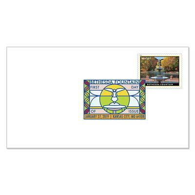 USPS New Bethesda Fountain Priority Mail Express Digital Color Postmark