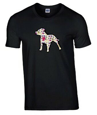 Staffordshire Bull Terrier Hearts Design Tshirt Black T-shirt Staffie Staffy Dog