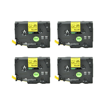 """4PK Heat Shrink Cartridge Label Black on Yellow HSe631 For Brother P-Touch 1/2"""""""