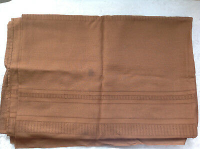 """Vintage Table Cloth Formal Dinner Damask Linen Solid Brown Laced 60"""" x 90"""""""