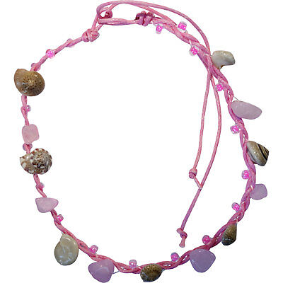 Pink Anklet Ankle Bracelet Foot Chain Womens Girls Ladies Shell Beaded Jewellery