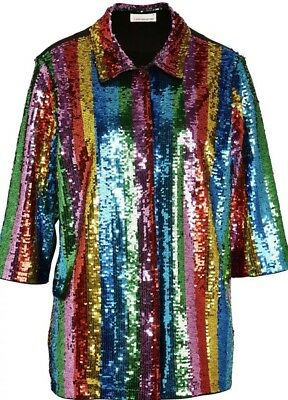 Peter Alexander Ladies Rainbow Sequin Tuxedo Shirt, Size:xs, Rrp: Au$149.95