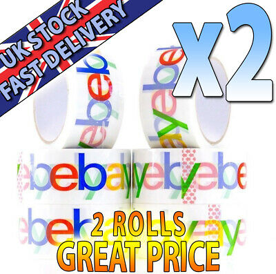 2 ROLLS! 4-Colour eBay Branded Extra-Strong Parcel Packing Packaging Tape !SAVE!