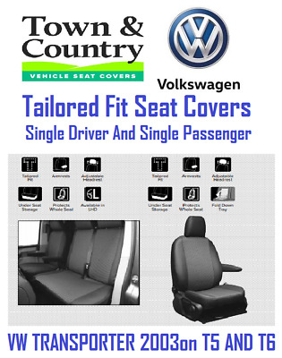 Town & Country VW Transporter -T5 & T6 - Driver & Single Passenger Seat Covers