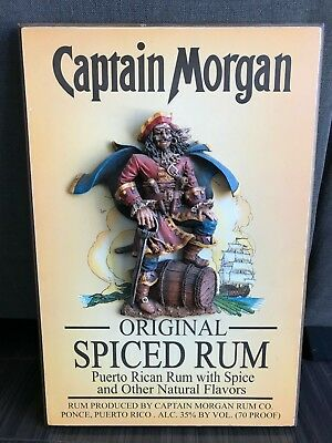 RARE Vtg CAPTAIN MORGAN Rum 3D Wooden Wall Plaque Man cave Bar Art
