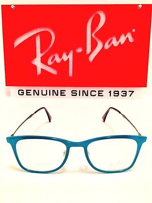 d1ed515ea5f Ray-Ban Eyeglasses RB7086 5640 Turquoise Blue w  Silver Rx Frame New 51mm  7086