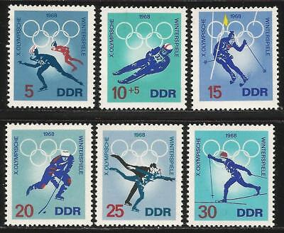 Germany (East) DDR 1968 MNH - Sports - WInter Olympic Games Grenoble Luge Skiing
