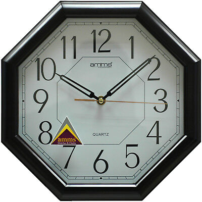 Large Classic Traditional  Sweep Quartz Bold Wall clock by Amms 30 cm dark brown