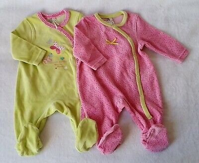 Lot 2 Pyjamas velours rose + anis bébé fille 3 MOIS ORCHESTRA f650569950a