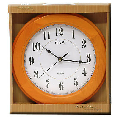 WOOD  WALL MOUNTED CLOCK VINTAGE STYLE NUMERICAL £8.99 FREE UK DELIVERY nah7533