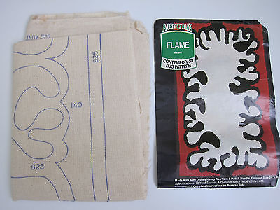 """VTG Aunt Lydia's Punch Needle Rug Kit """"Flame"""" #301 1960's-70s Hippie Style"""