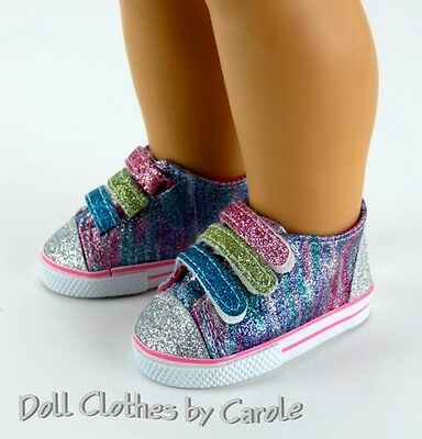 """Rainbow Glitter Tennis Shoes Sneakers fit 18"""" American Girl Size Doll"""