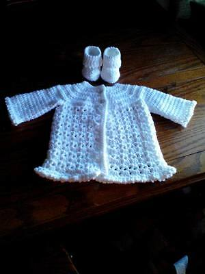 c9f813d41ec6 HANDMADE CROCHET BABY Set Sweater Hat Booties Off White -  9.99 ...