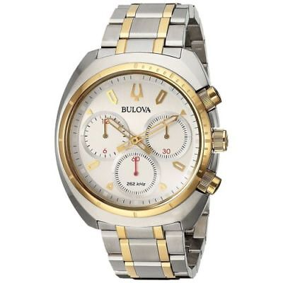 Bulova CURV Chronograph Gold Tone Accents 43mm Men's Quartz Watch 98A157