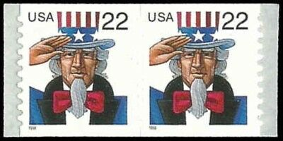 US #3263 Coil Pair 22c Uncle Sam, MNH, (PCB-4)