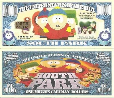 South Park American Animated Sitcom Series One Million Cartman Dollar Bills x 4