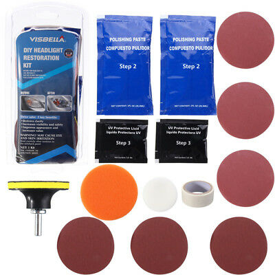 Headlight Restoration Polishing Car Motorcycle Cleaning Kit Auto Tool Clean UK