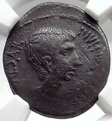 AUGUSTUS as OCTAVIAN Rare 37BC Authentic Ancient Silver Roman Con NGC i75038