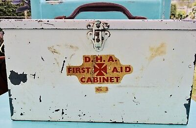VINTAGE Industrial D.H.A Metal FIRST AID CABINET/BOX Inc SOME CONTENTS 1970s