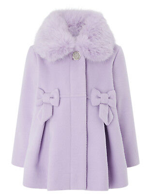 Baby Girls Monsoon Lily Pleat Bow Lilac Fur Collar Dress Coat 12 to 24 Months