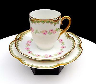 """Haviland & Co Limoges France Schleiger 526A Roses 3 Pc 2.75"""" Chocolate Cup Trio"""