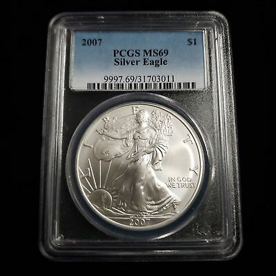 2007 US American Silver Eagle $1 One Dollar PCGS MS69 Nice Collector Coin AK3011