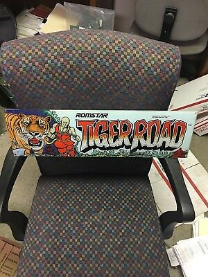 Tiger Road video arcade game marquee, Capcom/Romstar 1987