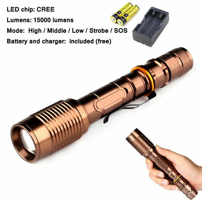 15000 Lumens LED Flashlight Police Swat Outdoor Torch Free 18650 Battery Charger