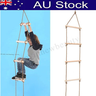 Kids Indoor Outdoor Playhouse Wooden 300Kg 5 Rungs Rope Climbing Ladder Toy