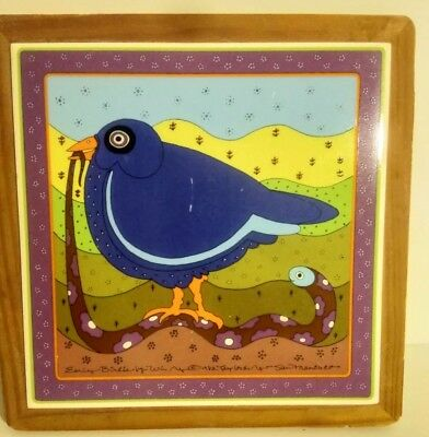 VTG Taylor & Ng Square Trivet Tile & Wood EARLY BIRDIE San Francisco 1982. Japan