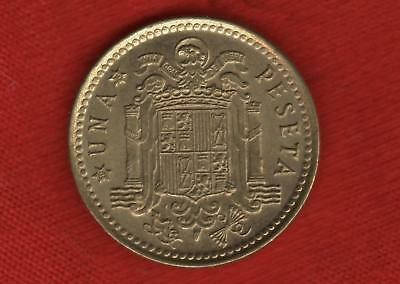 1966 SPAIN 1 UNA PESETA COIN - EXCELLENT aUNC - although LIGHTLY PITTED on FACE