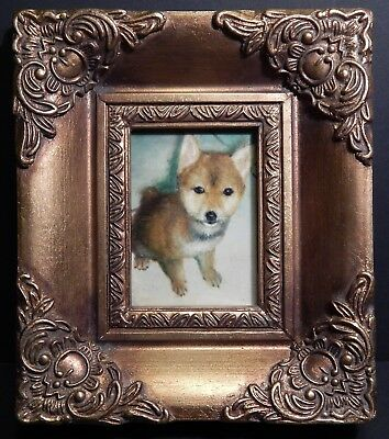 Miniature Oil Painting on Board Puppy in Gold Gilt & Gesso Frame