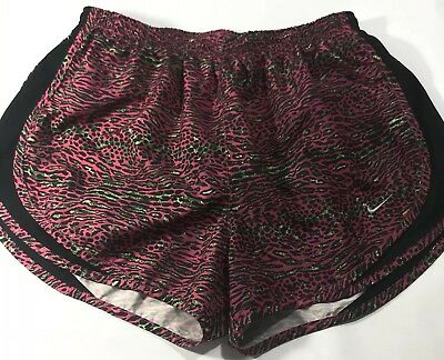 7371acb57e69 Women's Nike Dri-Fit Pink Cheetah Black Athletic Running Shorts Size Large L