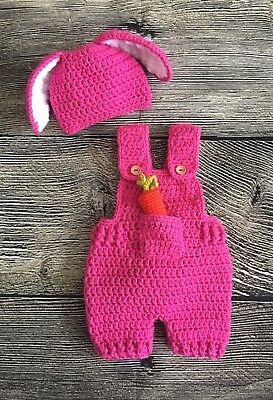 3a51831f90739 Newborn Baby Girl Easter Bunny Hat and Overalls Crochet Photo Prop Baby  Clothes