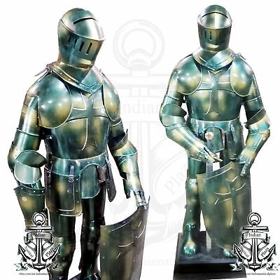 Medieval Antique Crusader Iron Hand-Made GOTHIC Suit of Armor With Shield