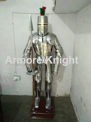 Medieval Collectible Silver Polish Greek Knight in Suit of Armor With Spear