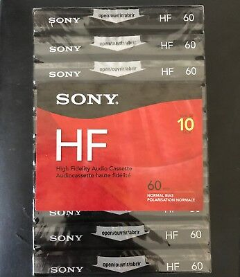 10 X SONY 60 High Fidelity Blank audio cassette tapes