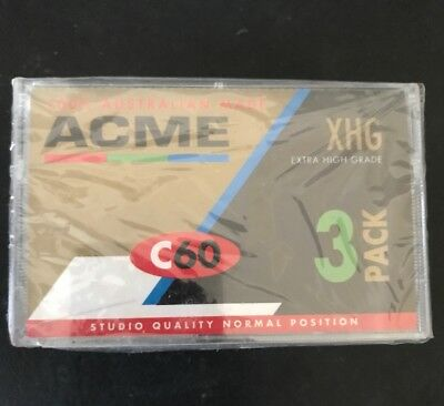 3 X ACME C60 Extra High Grade Blank audio cassette tapes